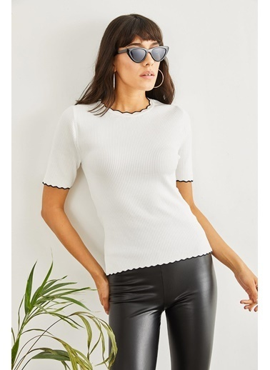 Sortee Kadın Fitilli Triko Bluz  Beyaz